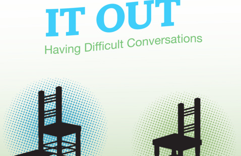 """two silhouettes of chairs facing each other with text at the top reading """"Talk It Out: Having Difficult Conversations."""""""