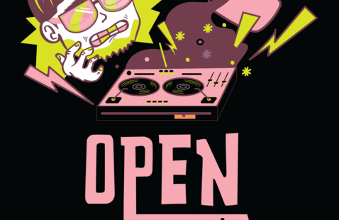 Open Mic Guy illustration dumping coffee on a music turntable