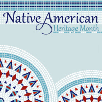 Native American Heritage Month. Text is on a light blue background with a mosaic banner and circles.