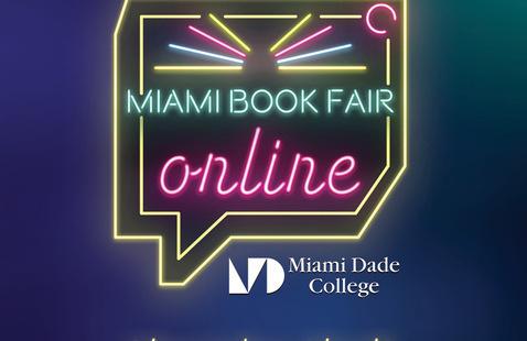 Neon sign that says Miami Book Fair Online
