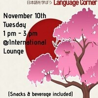 Language Corner with snacks and a beverage