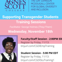 Transgender Student Support Training - Faculty/Staff Session