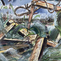Daniel Duford Floodwaters smash the gallows 2020 watercolor on paper
