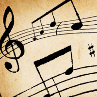 photo detail of sheet music with trebel clef and notes