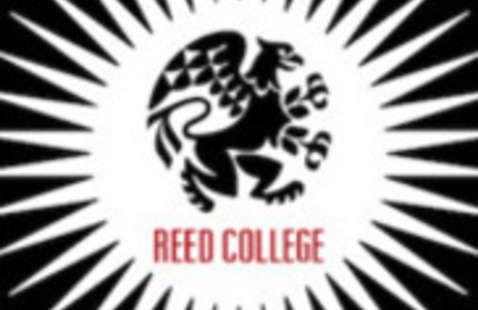 """Black circle with white starburst - black griffin in the middle above the words """"Reed College"""""""
