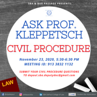 Ask Prof. Kleppetsch: Civil Procedure