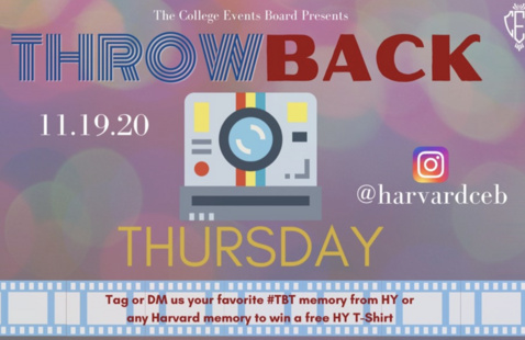"""Throwback Thursday poster with the text """"DM @harvardceb, tag us, or use the hashtag #HYThrowback on your spirited post! All submissions will be entered to win a HY T-Shirt!"""""""