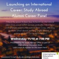 Launching an International Career: Study Abroad Alumni Career Panel