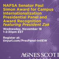 International Education Week: NAFSA Senator Paul Simon Award Presidential Panel featuring President Zak