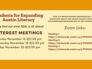 Interest Meeting: Students for Expanding Austin Literacy