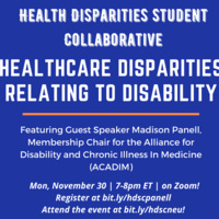 Healthcare Disparities relating to Disability: Guest Speaker Event