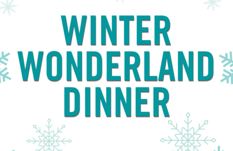 snowflakes and polar bears with the words winter wonderland dinner