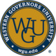 Western Governors University, wgu.edu in a circle with the WGU logo in the middle. circle is yellow and blue.