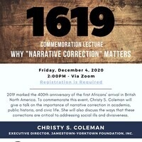"""1619 Commemoration Lecture Why """"Narrative Correction"""" Matters"""