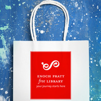 Take & Make bag with a Pratt Library logo and paint splattered background