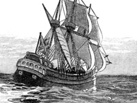 Pen and ink drawing of the Mayflower at sea