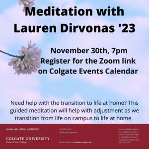 Meditation with Lauren Dirvonas '23