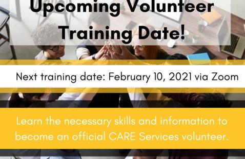 Upcoming Volunteer Training Dates!