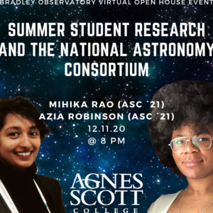 photo of Azia and Mihika in front of a starry sky background with text of title of event and college logo