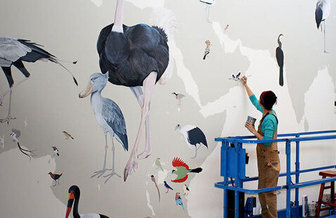 Image: Jane Kim at work on the wall, by Jeff Szuc.