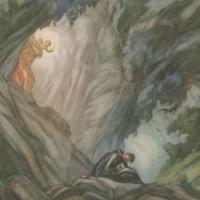 """Ignatius writes the Spiritual Exercises in the cave at Manresa."" Painting by Carlos Saenz de Tejada, 1897-1958."