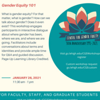 Faculty, Staff, and Grad Student Workshop: Gender Equity 101 | Center for Gender Equity