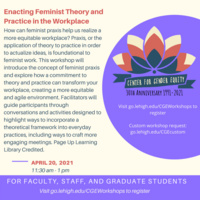 Faculty, Staff, and Grad Student Workshop: Enacting Feminist Theory and Practice in the Workplace | Center for Gender Equity