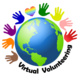 Image Text says Virtual Volunteering. Picture is of Earth with hands all around it in brown, orange, purple, blue, green, yellow, pink and red. Rainbow heart is at the top of the Earth.