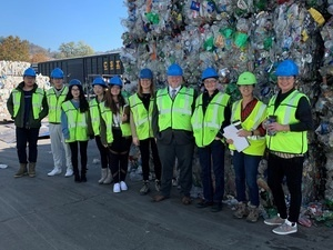 group at recycling facility