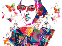 Multi-colored graphic image of William Shakespeare, includes butterflies and music notes