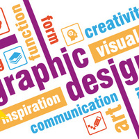 multi-colored words on a white background; the words include graphic design, function, form, creativity, inspiration, visual, communication, art and idea