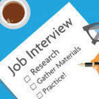 A piece of paper with the words: Job Interview, Research, Gather Materials, Practice