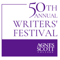 "design with text that reads ""50th Annual Writers' Festival"" with the college's logo below text graphic"