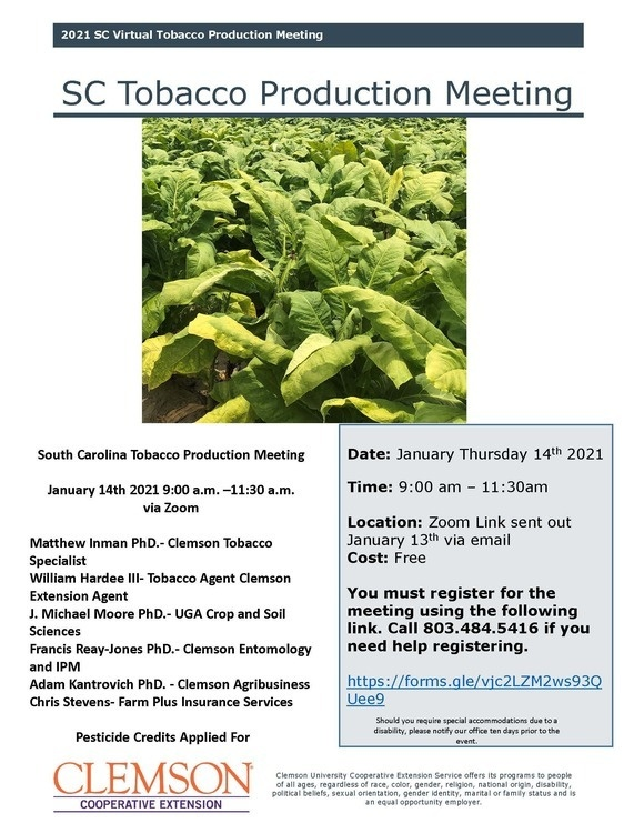 2021 SC Virtual Tobacco Production Meeting