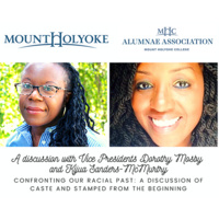 Image of two people side by side with College and Alumnae Association logos above and text of event title and description.