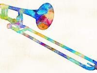 multi-colored graphic image of a trombone