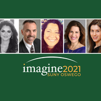 Imagine 2021 SUNY Oswego logo with pictures of Paola Marin Veites '20; Gary Morris '88; Heather Sloven '04; Joan Pelzer '89; and Alexa Kosloski '21