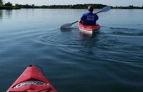 paddlers on the lake