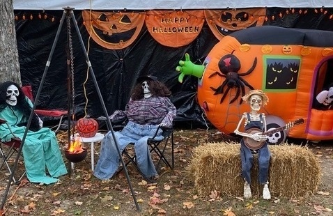 Halloween decorations at the campground