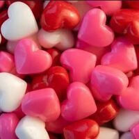 Pink, red and white candy hearts