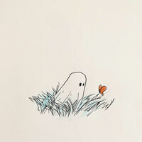 Ghost looking at butterfly illustration by Anis Mojgani