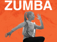 A woman wearing exercise clothes with one knee raised. Her arms appear to be swinging both to her front and back. ZUMBA is in white text above her on an orange background.