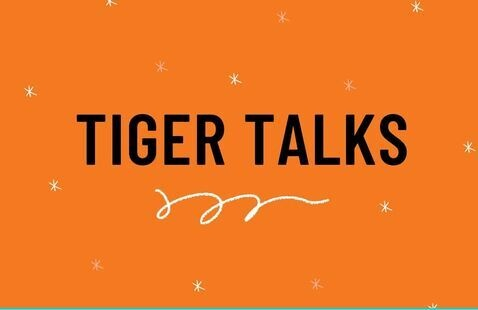 Tiger Talks; white stars sprinkled across an orange background