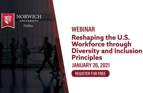 text in red reads webinar, reshaping the u.s. workforce through diversity and inclusion principles, January 26, 2021, register for free