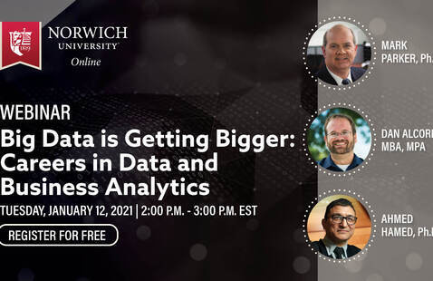 white text reads webinar, big data is getting bigger: careers in data and business analytics, Tuesday, January 12, 2021, 2pm - 3pm EST, register for free