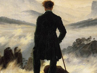 Artist image of a man standing on top of a small mountain overlooking a landscape of other hazy mountains. Man is dressed in a long black coat, tall black boots, with a hiking stick in his right hand. He has wavy auburn hair and his back is to the viewer.