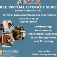Free Virtual Literacy Series Announcement with text information and photos of children reading