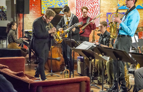 Members of the Jazz Lab Band perform in Chicago.