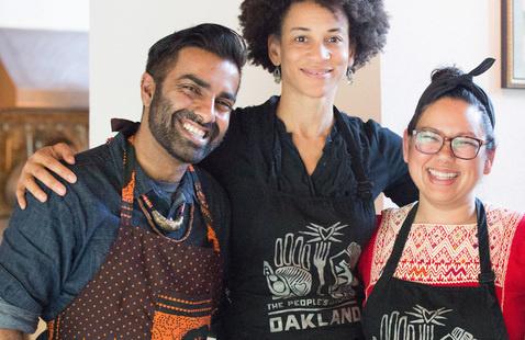 PKC Co-Founders Saqib Keval, Jocelyn Jackson, and Sita Bhaumik at the Montalvo Arts Center's Lucas Artist Residency Program.  Photo: Tina Case Photography