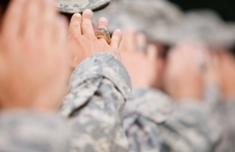 Saluting with the cadet class ring